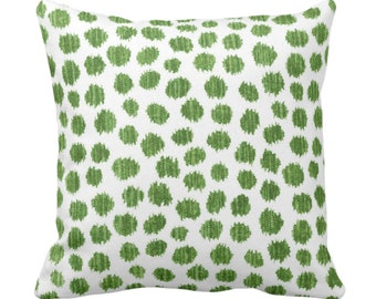 "Scratchy Dots Throw Pillow or Cover, Olive/White 14, 16, 18, 20 or 26"" Sq Pillows/Covers, Green Scribble/Dots/Spots/Circles Print/Pattern"