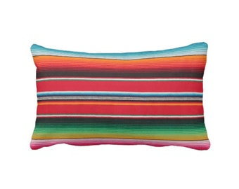 "OUTDOOR - READY 2 SHIP Serape Stripe Throw Pillow Cover, Printed Mexican Blanket 14 x 20"" Lumbar Covers, Rainbow/Colorful/Stripes/Striped"
