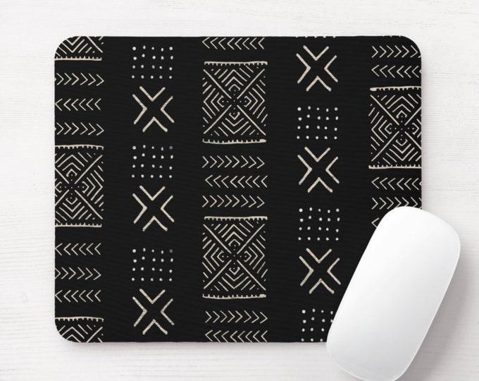 Mud Cloth Diamonds Print Mouse Pad/Mousepad, Black & Off-White Tribal African Pattern, Vintage Boho Modern Geometric/Geo/X/Lines Design