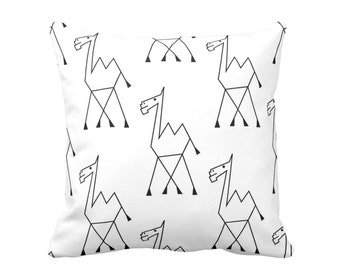"Camel Sketch Print Throw Pillow or Cover, Tribal Black and White Pattern 16, 18, 20 or 26"" Square Pillows or Covers"