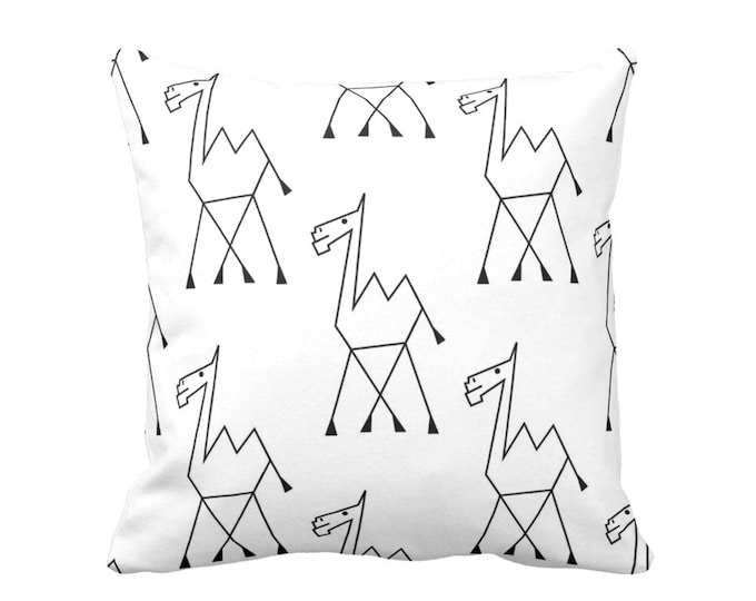 "SALE Camel Sketch Print Throw Pillow Cover, Tribal Black and White Pattern 14"" Square Pillow Covers"