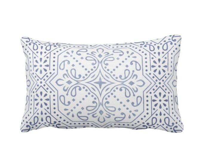 "Tile Print Throw Pillow or Cover, Chambray 14 x 20"" Lumbar Pillows or Covers, Light/Dusty Blue/White Trellis/Geometric/Batik/Geo"
