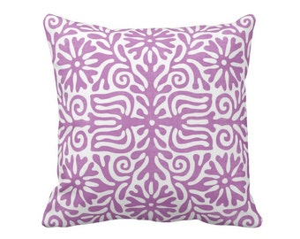 "OUTDOOR Folk Floral Throw Pillow or Cover, Purple/White 16, 18 or 20"" Sq Pillows or Covers, Bright Mexican/Boho/Bohemian/Tribal/Art"