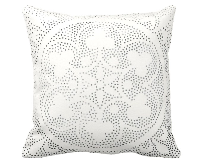 "OUTDOOR Batik Medallion Print Throw Pillow/Cover, Off-White/Gray/Black 14, 16, 18, 20, 26"" Sq Pillows/Covers, Floral/Geo/Boho/Tribal/Hmong"