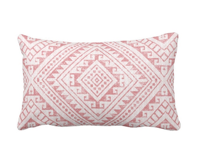 "Diamond Geo Throw Pillow or Cover, Rosewood 14 x 20"" Lumbar Pillows or Covers, Dusty Pink Geometric/Batik/Geo/Tribal Print/Pattern"