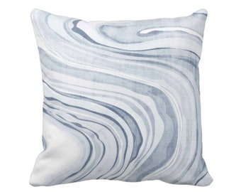 """SALE Marbled Print Pillow Cover, Dusty Blue 16"""" Sq Pillow Covers Indigo Marbled/Swirl/Abstract/Wave/Modern Pattern, Light Chambray Dusty"""