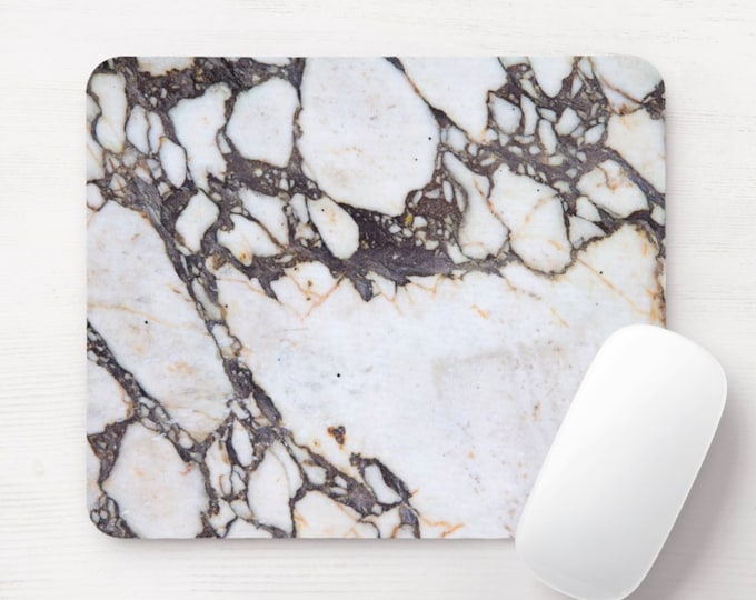 Veined Marble Printed Mouse Pad/Mousepad, FAUX White/Taupe Vein/Veining Stone/Marbled Gray/Brown/Off-White Print/Pattern