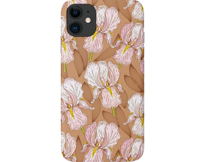 Honey Floral iPhone 11, XS, XR, X, 7/8, 6/6S Pro/Max/P/Plus Snap Case or Tough Protective Cover, Earth Tone/Pink Flower Pattern, Galaxy lg