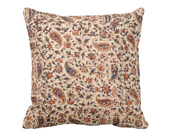 "OUTDOOR Retro Paisley Throw Pillow/Cover, Natural/Navy/Red/Orange 16, 18 or 20"" Square Pillows or Covers, Vintage Textile Print"