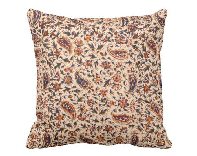 """Retro Paisley Throw Pillow or Cover, Natural/Navy/Red/Orange 16, 18, 20 or 26"""" Square Pillows or Covers, Vintage Textile Print"""
