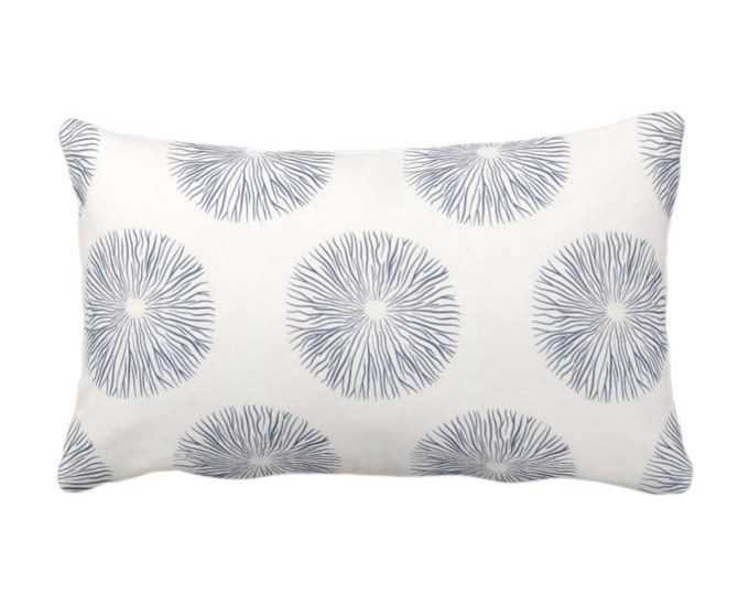 """SALE - OUTDOOR Sea Urchin Print Throw Pillow Cover, Navy/White 14 x 20"""" Lumbar Pillow Covers, Dark Blue Abstract Geometric Pattern"""