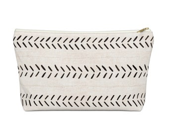 Mud Cloth Arrows Zippered Pouch, Black & Off-White Tribal Design, Cosmetics/Pencil/Make-Up Organizer/Bag, Boho/African Geometric Pattern