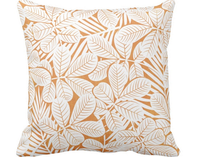 "OUTDOOR Modern Leaves Throw Pillow or Cover Orange/White Print 16, 18 or 20"" Sq Pillows or Covers Burnt/Mango Retro Tropical Print"