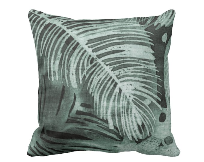 "READY 2 SHIP - OUTDOOR Tropical Leaves Print Throw Pillow Cover, Kale 20"" Square Pillow Covers, Batik/Watercolor Dark Dusty Green"