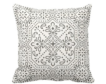 "Tile Print Throw Pillow or Cover, Charcoal/Off-White 16, 18, 20 or 26"" Sq Pillows or Covers, Trellis/Geometric/Batik/Geo Pattern"
