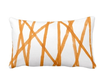 """Hand-Painted Lines Throw Pillow or Cover, Mango/White 14 x 20"""" Lumbar Pillows or Covers, Channels/Stripes Rust Orange Print"""