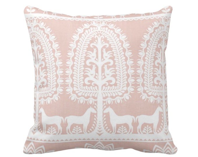"Folk Print Throw Pillow or Cover, Salmon/White 16, 18, 20, 26"" Sq Pillows/Covers Pink Animal/Floral/Mexican/Boho/Tribal/Traditional Pattern"
