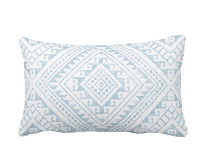 "OUTDOOR Diamond Geo Throw Pillow or Cover, Sky Blue 14 x 20"" Lumbar Pillows/Covers, Aqua/White Geometric/Batik/Geo/Tribal Print/Pattern"