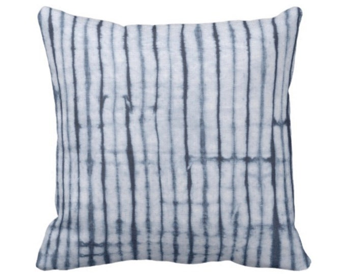 "Indigo Striped Throw Pillow or Cover 16, 18, 20 or 26"" Sq Pillows or Covers, Navy Blue Stripes/Stripe/Lines/Shibori/Mud Cloth"