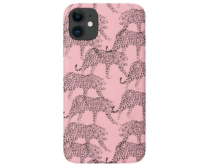 Leopards iPhone 11, XS, XR, X, 7/8, 6/6S Pro/Max/Plus/P Snap Case or TOUGH Protective Cover, Rose Pink Animal/Cat Print/Pattern Galaxy lg