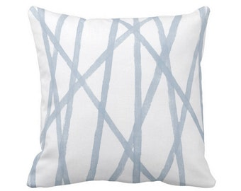 "Hand Painted Lines Throw Pillow or Cover, Chambray/White 16, 18, 20, 26"" Sq Pillows or Covers, Dusty Blue Channels/Stripes Print"