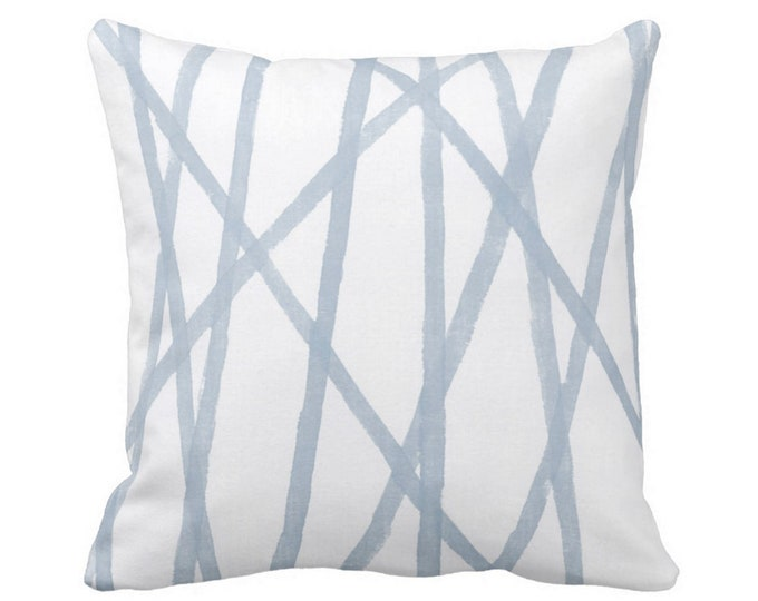 """Hand Painted Lines Throw Pillow or Cover, Chambray/White 14, 16, 18, 20, 26"""" Sq Pillows or Covers, Dusty Blue Channels/Stripes Print"""