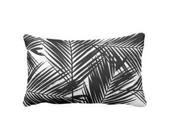 "OUTDOOR Palm Print Throw Pillow or Cover, Black & White Lumbar Pillows or Covers 14 x 20"" Modern Tropical Leaves Pattern, Jungalo"