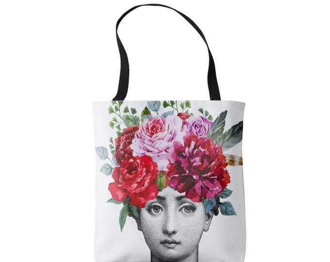 Fornasetti Face with Flowers Market Tote, Modern Graphic Print Bag, Bright Watercolor Roses