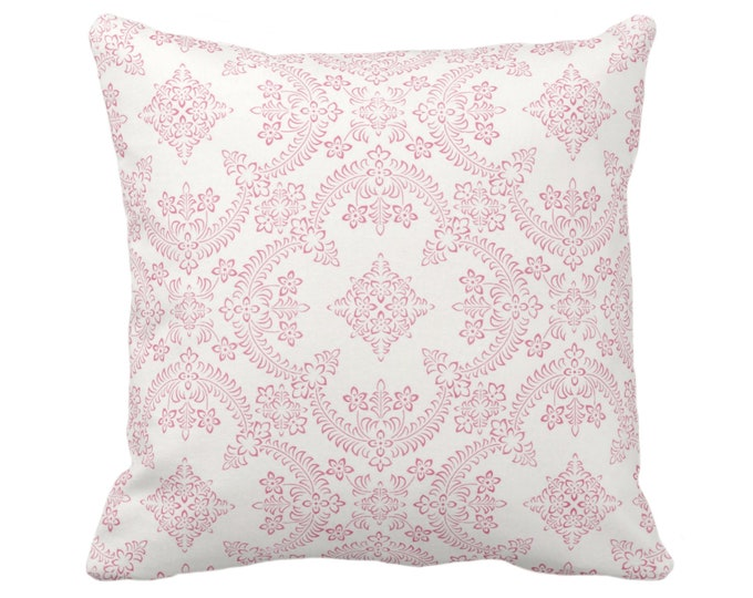 "Priano Tile Print Throw Pillow or Cover, Pink/White 16, 18, 20 or 26"" Sq Pillows or Covers, Bright Floral/Geometric/Trellis Pattern"