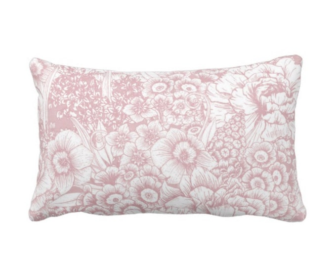 """Retro Floral Throw Pillow or Cover, Pink & White 14 x 20"""" Lumbar Pillows or Covers, Dusty Blush/Rose, Flowers/Botanical/Print"""