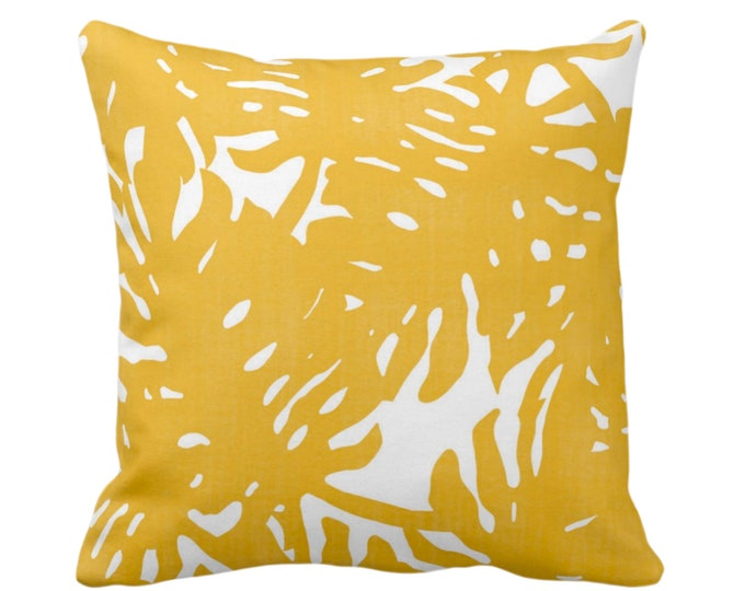 "OUTDOOR Palm Silhouette Throw Pillow or Cover Golden/White 14, 16, 18 or 20"" Sq Pillows/Covers Yellow Tropical/eaves/Palms Print/Pattern"