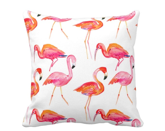 "Colorful Flamingo Pillow or Cover, Orange/Pink/White 16, 18, 20 or 26"" Sq Pillows or Covers, Coral/Tropical/Flamingos Print"