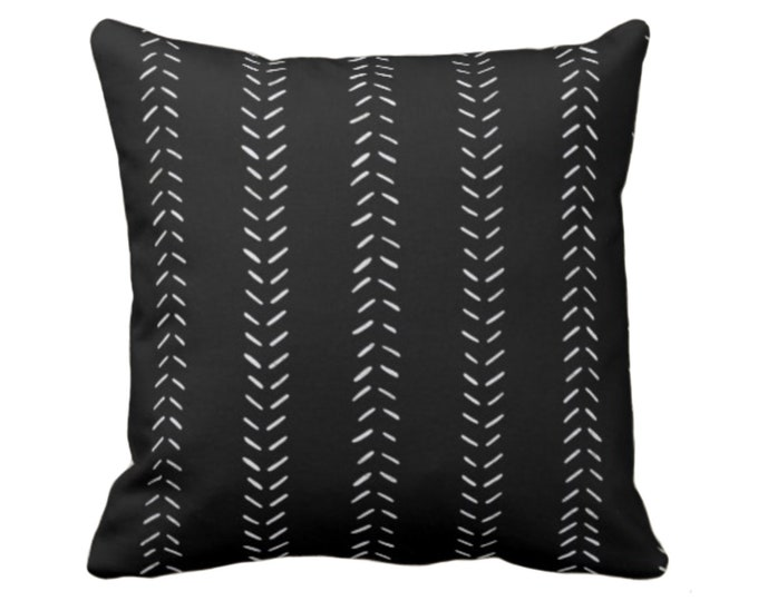 "READY 2 SHIP Mud Cloth Print Throw Pillow Cover, Black/Off-White 18"" Sq Pillow Covers, Mudcloth/Geometric/Arrows/Tribal"