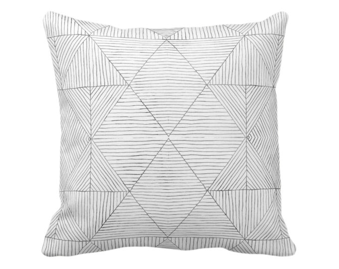 "OUTDOOR Fine Line Geo Print Throw Pillow or Cover 14, 16, 18, 20 or 26"" Sq Pillows/Covers, Charcoal Dark Gray Tribal Geometric/Diamond/Lines"