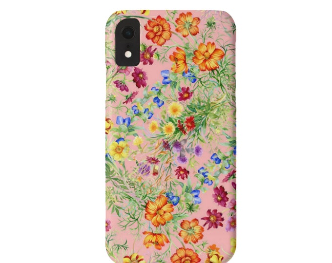 Pink Wildflowers iPhone XS, Max, XR, X, 7/8, 7/8 P, 6/6S, 6/6S Plus Snap Case, Tough Protective Cover Colorful/Bright Floral Print/Pattern