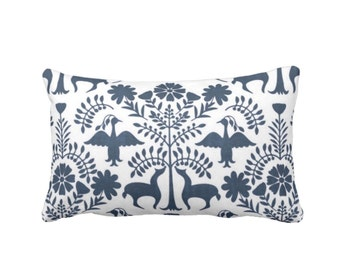 "OUTDOOR Otomi Throw Pillow or Cover, Navy/White 14 x 20"" Lumbar Pillows/Covers, Blue Mexican/Boho/Floral/Animals/Nature Print/Pattern"