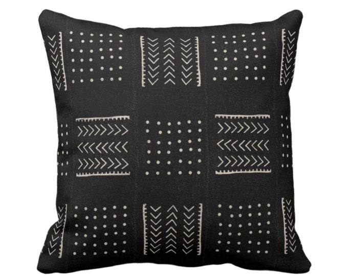 "Mud Cloth Print Throw Pillow or Cover, Arrows & Dots Black/Off-White 16, 18, 20, 26"" Sq Pillows/Covers, Mudcloth/Boho/Cross/Tribal/Design"