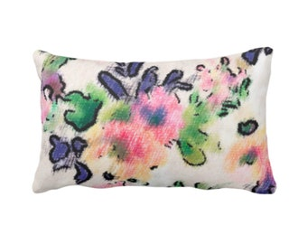 "OUTDOOR Brushstroke Floral Throw Pillow/Cover 14 x 20"" Lumbar Pillows/Covers, Multi-Colored Watercolor Pattern Blue/Pink/Green/Yellow/Purple"