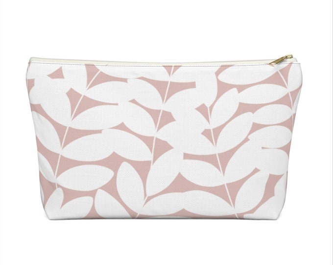 Stems Modern Botanical Print Zippered Pouch, Pink/White Cosmetics/Pencil/Make-Up Organizer/Bag, Blush Nature/Floral/Minimal/Leaves Pattern