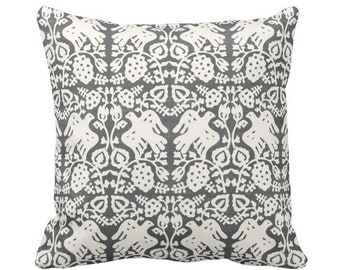 "Block Print Bird Floral Throw Pillow or Cover, Charcoal/Ivory 16, 18, 20, 26"" Sq Pillows or Covers Blockprint/Boho/Tribal Print"