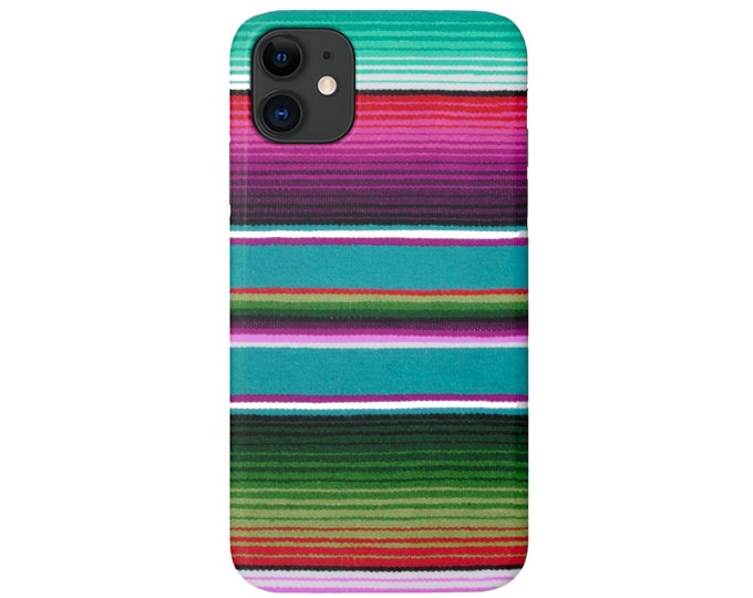 Serape iPhone 11, XS, XR, X, 7/8, 6/6S P/Pro/Plus/Max Snap Case or Tough Protective Cover, Colorful Stripe/Striped Mexican Print Galaxy lg