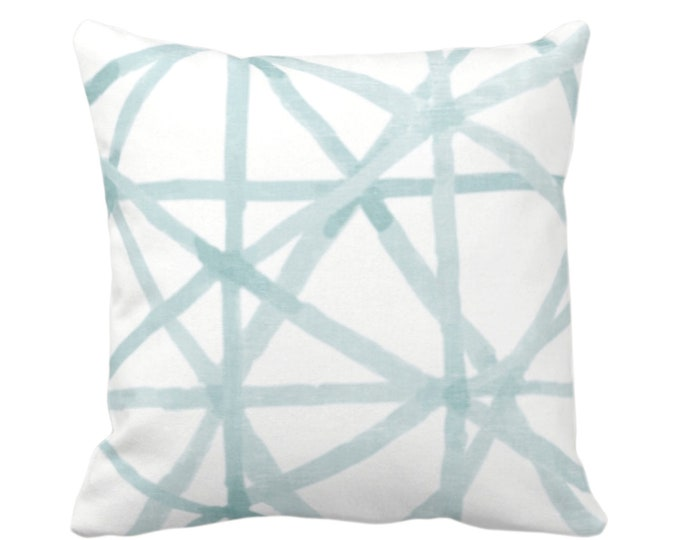 """OUTDOOR Painted Lines Throw Pillow or Cover, White/Seaglass 16, 18, 20"""" Sq Pillows Covers, Blue/Green Modern/Lines/Star/Geometric/Geo Print"""