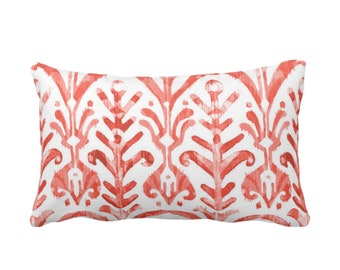 "Watercolor Print Throw Pillow or Cover, Coral/White 14 x 20"" Lumbar Pillows or Covers, Red/Orange/Pink, Ikat/Tribal/Boho Print"