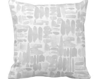 "OUTDOOR Brush Strokes Throw Pillow or Cover, Frost Gray 14, 16, 18, 20, 26"" Sq Pillows/Covers Watercolor/Hand-Painted/Modern/Abstract Print"