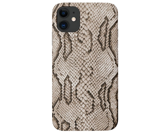 Python iPhone 11, XS, XR, X, 7/8, 6/6S Pro/Max/Plus/P Snap Case or TOUGH Protective Cover, Beige/Black Snakeskin Print/Pattern Galaxy lg