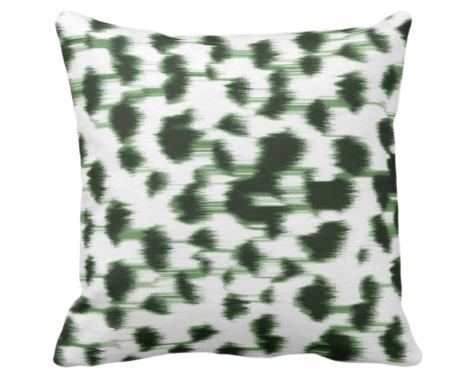 "Ikat Abstract Animal Print Throw Pillow or Cover 14, 16, 18, 20, 26"" Sq Pillows/Covers, Kale Green/White Spots/Spotted/Dots/Dot/Geo/Painted"