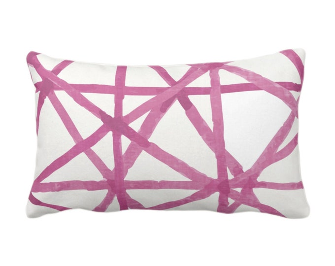 "Painted Lines Print Throw Pillow or Cover, White/Bright Pink 14 x 20"" Lumbar Pillows or Covers, Abstract/Geometric/Geo/Modern/Lines Pattern"