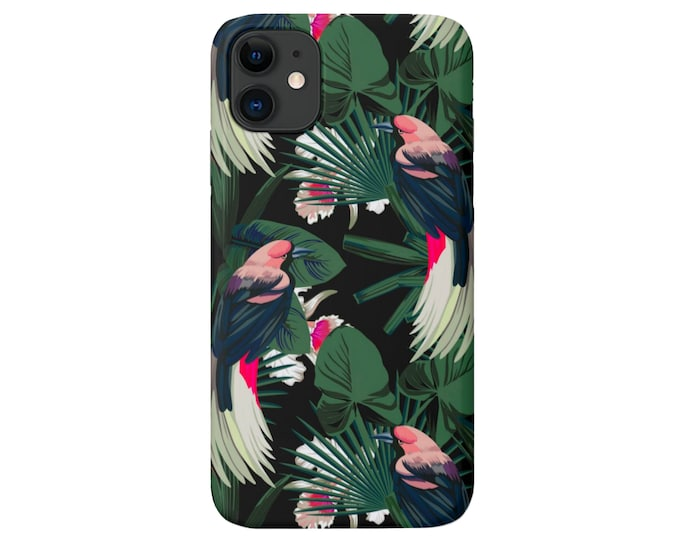 Dark Jungle iPhone 11, XS, XR, X, 7/8, 6/6S Pro/Max/Plus/P Snap Case or Tough Protective Cover Black Colorful Palms/Bird/Floral Print Galaxy