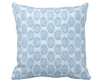 """OUTDOOR SALE/Ready 2 Ship Ikat Ovals Print Throw Pillow Cover 20"""" Sq Pillows Covers, Sky Blue Geometric/Circles/Dots/Dot/Geo/Polka Pattern"""