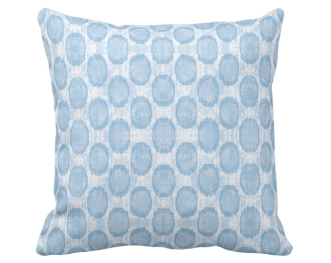 "OUTDOOR SALE/Ready 2 Ship Ikat Ovals Print Throw Pillow Cover 20"" Sq Pillows Covers, Sky Blue Geometric/Circles/Dots/Dot/Geo/Polka Pattern"